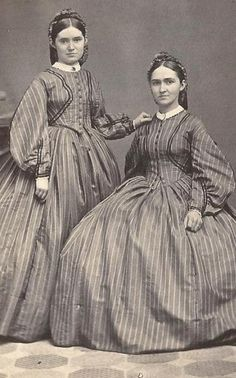Civil War Era Beautiful Twin Young Women Matching Dresses Canandaigua NY | eBay