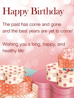Wishing You a Happy Life - Happy Birthday Wishes Card: This sweet, fun birthday greeting card is perfect for that   special person in your life. The pretty pink boxes and background set a precious stage for a thoughtful birthday wish. The black text contrasts nicely with the pale pink background. This birthday card is perfect for friends of all ages. While the message is impactful it is also general enough to give to anyone on your friends list.