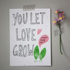 Throw and Grow - pflanzbare Postkarte - YOU LET LOVE GROW - NIKO NIKO