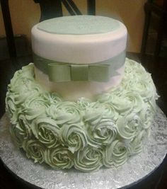 Sage Green Rose wedding Cake