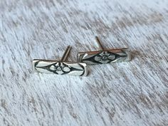 Minimalist Floral Bar Post Earrings.  Handmade Artisan Jewelry.  Tiny bar style post earrings with  floral design in sterling sliver.