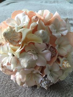 Beach Wedding Bouquet with Shells by LCFloral on Etsy, $85.00