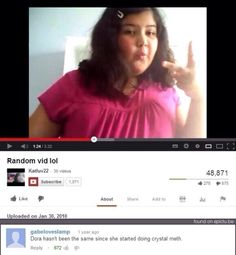 Dora the Explorer on Meth Dora Funny, What's So Funny, Hilarious, Funny Stuff, Funny Things, Random Stuff, Funny Instagram Memes, Tumblr Funny, Funny Youtube Comments