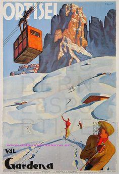 Vintage Italian Posters ~ ~ Merlet 1935 Ortisel Val Gardena Ed I F Amonn Italia Vintage Italian Posters, Vintage Ski Posters, Cool Posters, Vintage Advertisements, Vintage Ads, Sella Ronda, Party Vintage, Tourism Poster, Travel Ads