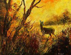 """Saatchi Online Artist: Pol Ledent; Oil, 2013, Painting """"Deer"""""""
