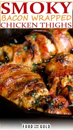 Made in one pan so that both sides of the bacon get crispy, this smoky bacon wrapped chicken thigh recipe pleases everyone! This bacon-wrapped chicken thigh recipe is the best because unlike other recipes that use a baking sheet, this one gets the bacon crispy on the bottom and the top. This one simple step makes all the difference with no extra effort! | @foodabovegold #baconwrappedchicken #chickenthighsrecipe #familydinnerrecipes #chickenrecipe Chicken Thighs Bacon Recipe, Chicken Thigh Recipes Oven, Boneless Chicken Thighs, Chicken Wraps, Baked Chicken Recipes, Bacon Recipes, Cooking Recipes, Baked Bacon Wrapped Chicken, Oven Chicken