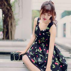 Korean fashion sweet cherries flower print dress