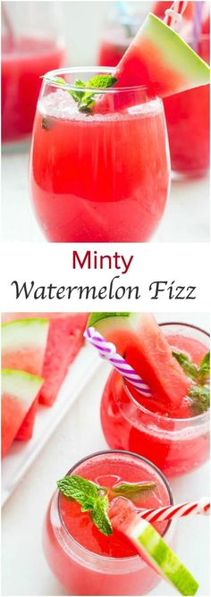 Ridiculously easy summer drink for a crowd! Crisp, clean and refreshing, this minty watermelon fizz is just the perfect party drink for all occasions.