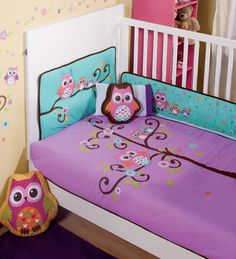 New Purple Violet Aqua Baby Owl Crib Bedding Nursery Sheet Set 6 Pieces