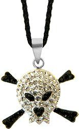 Silver Swarovski crystal Pendant by GlitZ JewelZ © - cute skull and crossbones design bling bling!! - made with over 40 Swarovski crystals - comes packed inside a lovely velvet pouch - Clear Diamond and Jet Black color GlitZ JewelZ. $19.99
