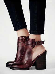 The oxblood hue of these open-back shoes will instantly dress up any outfit. // Breton Heeled Boots by Free People