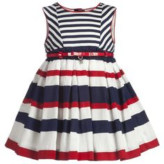 Red & Blue Stripe Cotton Dress - Girl | Childrensalon