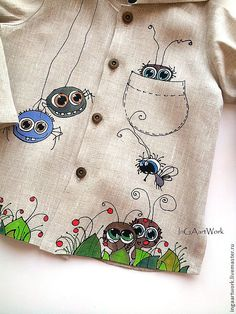 "Купить Льняной костюм ""ИЗ ЖИЗНИ ЖУКОВ."" .Ручная роспись. - серый, лён Dress Painting, T Shirt Painting, Fabric Painting, Paint Shirts, Hand Painted Fabric, Painted Clothes, Little Girl Dresses, Sewing For Kids, Clothing Patterns"