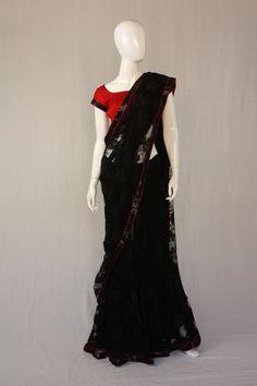 Black Lace Swarovski crystals Lehenga saree