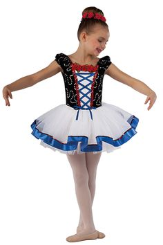 15228 Enchanted | Kids Showcase / First Performance / Dance Costumes / Recital Wear | Dansco 2015 | Sequined black velvet and white spandex leotard. Separate white chiffon tutu. Red sequin, sequined braid, flower and royal ribbon trim. Headpiece and ribbon for lacing included.