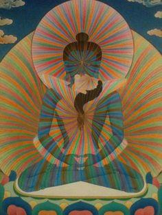Samantabhadra and Samantabhadri rainbow body. It's not a desire, it's a condition, but long time made understood. Tibetan Art, Tibetan Buddhism, Buddhist Art, Tibetan Symbols, Tantra, Gautama Buddha, Taoism, Visionary Art, Spirituality