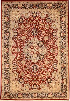 Kashan rugs are most famous of Persian carpet design for their expansive floral patterns and all-over Shah Abbas field. Kashan in its actuality is a city in central Iran, with a long history of carpet making dating back to 16th century.  http://www.alrug.com/4525