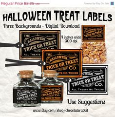 Halloween Treat Candy Label Digital Download by chocolaterabbit, $1.85