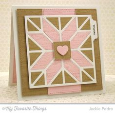 hand crafted card from The Scalloped Edge: MFT quilt block die cut ... luv the pink and kraft with vanilla lines .. beautiful square format ...