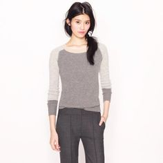 J. Crew colorblock waffle knit sweater This is an amazing, cozy colorblock waffle knit sweater in a combo of grays and tan. Made of a super soft and lightweight viscose, nylon, and wool blend that is ideal for springtime. Flattering long length. A great closet basic. Factory version. Size M. J. Crew Sweaters Crew & Scoop Necks