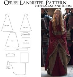 Princess Dragon - Ylenia Manganelli : Cersei Lannister Gown - Costume TUTORIAL and PATTERN If I ever try to cosplay, this would probably be a character I could manage.Finally a GoT pattern! :D Cersei Lannister pattern costume game of thrones costumePinned Costume Tutorial, Cosplay Tutorial, Cosplay Diy, Cosplay Costumes, Cosplay Dress, Diy Clothing, Sewing Clothes, Clothing Patterns, Costume Patterns