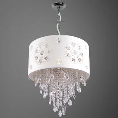 1 Light White Crystal Pendant with a White Shade and Clear European Crystals - Joshua Marshal 7033-001 #chandelier #crystalchandelier #whitechandelier, #shadedchandelier #shadedlights