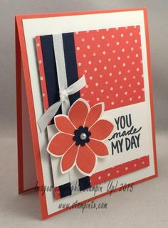 Having fun using Calypso Coral and Night of Navy together! (love that color combination!) More details are found on my blog: http://stampintx.blogspot.com/2014/12/countdown-to-occasions-catalog-sneak_26.html I was inspired by Mary's card here: http://www.splitcoaststampers.com/gallery/photo/2591953?&cat=25811