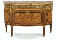 A FLORAL MARQUETRY COMMODE, Louis XVI, AND STAMPED JME DESHAYES opening with three drawers in front and two curved doors on the sides resting on tapered legs with simulated splines, veneer rosewood, amaranth and fruitwood decorated with bouquets and flower baskets, ornate gilt bronze marble top breach of Aleppo
