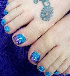 sparkly Painted Toenails   Sets Glitter Toes Magic Manicure with Glitter Party Nails Hand Painted ...