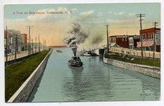 erie canal scene postcard tonawanda ny