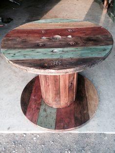 Wood spool deck table Annie Sloan Chalk painted & dark wax