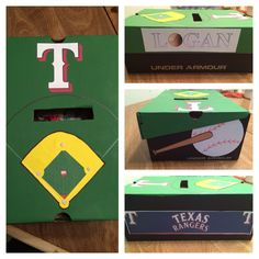 My son, Logan's Valentine's box for school!! Loves baseball & his Rangers!!!