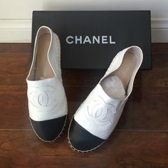 Black and white Chanel espadrille Black and white Chanel espadrilles sheepskin leather. Size 40. I am a US size 8.5 wide and these were about half a size too small. 100% real leather, not authentic but would never be able to tell. New Comes in Chanel box and each shoe has a shoe cover. CHANEL Shoes Espadrilles