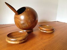 Vintage Mid Century Enesco Wood Round Nut Bowl W/ Spoon and Serving Dishes