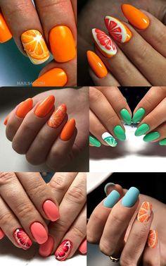 Aycrlic Nails, Swag Nails, Nail Manicure, Fun Nails, Hair And Nails, Fruit Nail Designs, Almond Nails Designs, Colorful Nail Designs, Lime Nails