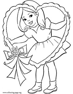Little girl and a Valentine's Day heart coloring page
