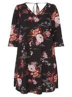 Womens DP Curve Plus Size Floral Print V-Neck Swing Dress- Multi Colour