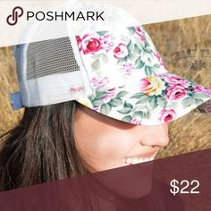 << White Floral Baseball Truckers Cap >> Super New and SUPER cute!! This cute little trucker hat is perfect for the spring and summer!!! Mesh and Floral detail with Adjustable back Boutique Accessories Hats