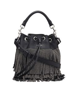 Small Stud Fringe Bucket Shoulder Bag, Black by Saint Laurent at Neiman Marcus.