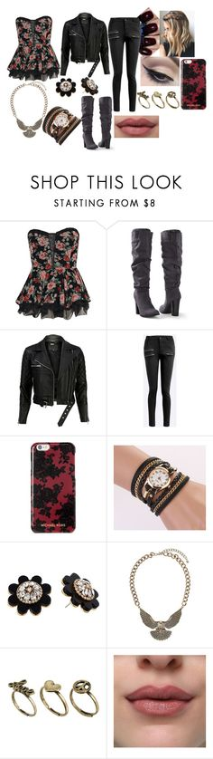 """""""Black, Red & Gold"""" by sophie-swan ❤ liked on Polyvore featuring Boohoo, Venus, Once Upon a Time, VIPARO, Michael Kors, Kate Spade, Mehron, Topshop and Classics 77"""