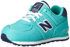New Balance KL574 Pique Polo Pack Running Shoe (Infant/Toddler/Little Kid/Big Kid), Teal/Black, 2 M US Infant