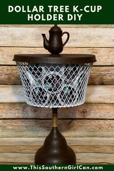 I absolutely adore my Keurig, which means I usually have a huge selection of K-Cups laying around my kitchen. My organizing solution? This easy to make Dollar Tree k-cup holder. Dollar Tree Decor, Dollar Tree Store, Dollar Tree Crafts, Dollar Stores, Dollar Tree Plates, Dollar Tree Baskets, Dollar Tree Cricut, Diy Home Crafts, Decor Crafts