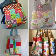 dd3af30b7 Hora de reunir todos aqueles retalhos de tecidos variados e fazer uma bolsa  linda!