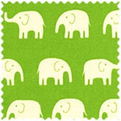 Daiwabo House Designer - Tip Top Canvas - Elephants in Ivory on Lime