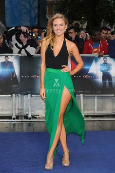 Kimberley Garner Unique Black and Green Two-tone Prom Dress Man of Steel Premiere