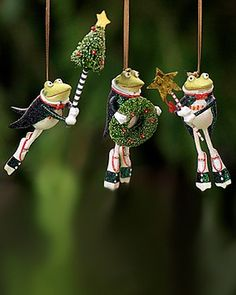 Set of 3 Tree Frog Jointed Gift Tags or Christmas Ornaments