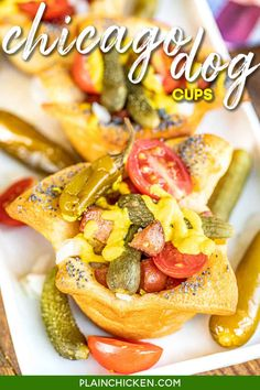 Chicago Hot Dog Cups - easy muffin tin Chicago Dog appetizers! Great for parties or a fun lunch and dinner! Refrigerated pizza dough, poppy seeds, all-beef hot dogs, sweet pickle relish, white onion, dill pickles, tomatoes, mustard, sport peppers, and celery salt. NO ketchup! It's a rule! These things fly off the plate at our get-togethers! #partyfood #chicagodog #hotdog #appetizer #lunch #dinner #gameday