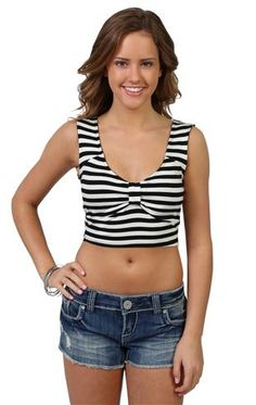 striped crop tank with knot front foam cups