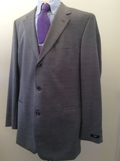BRAND NEW HUGO BOSS THREE BUTTON GRAY MENS SUIT SIZE 46L - 40W - 100%WOOL 899$ #HUGOBOSS #ThreeButton