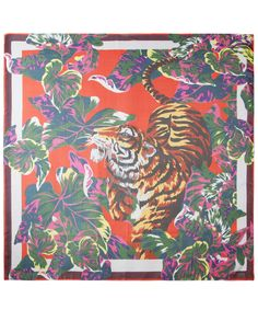 Red Tiger Print Silk Chiffon Scarf, Kenzo. Shop the latest silk scarves from the Kenzo collection online at Liberty.co.uk